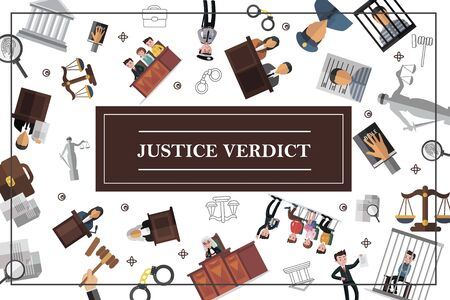 Flat law and judicial system concept