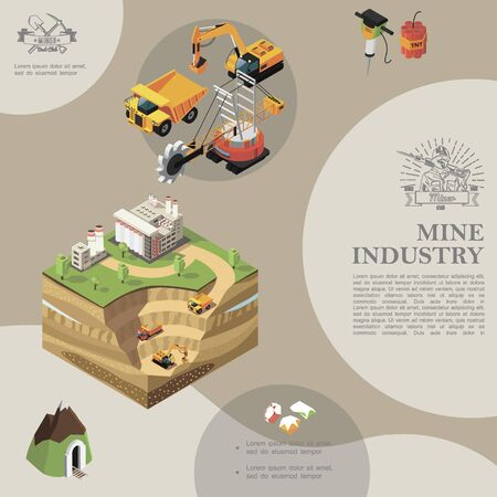 Isometric mining industry template with heavy truck  イラスト・ベクター素材