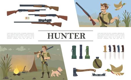 Flat hunting elements composition with hunter holding shotgun