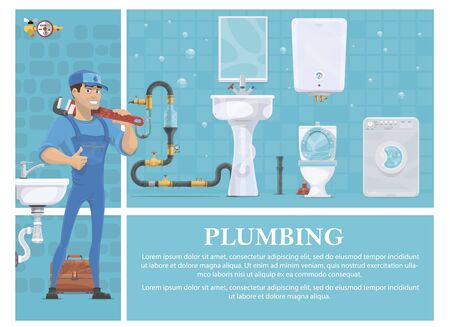 Cartoon plumbing composition with plumber in uniform