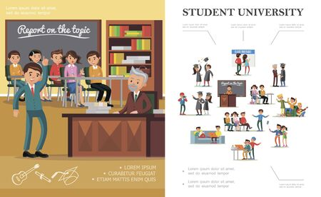 Flat people in university colorful concept Ilustracja