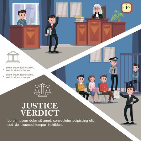 Flat judicial system template with different participants of court hearing Illustration