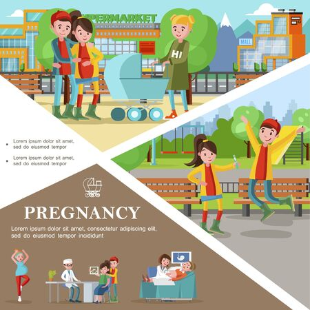 Flat pregnancy template with meeting of present and future parents
