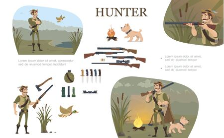 Flat hunting composition with hunter in different poses camp