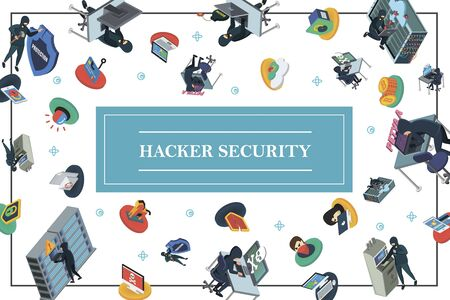 Isometric hacking activity concept with hackers committing different cyber crimes