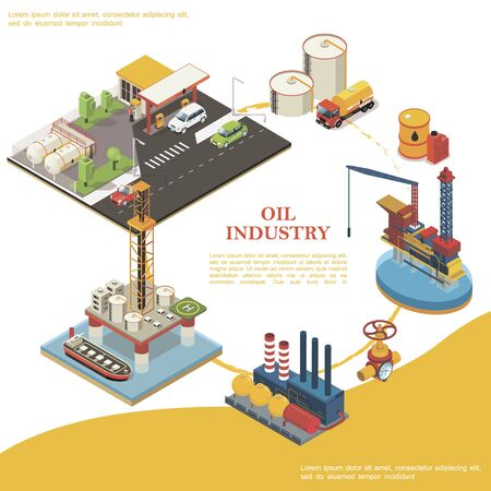Isometric petroleum industry round template with gas station