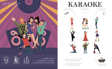Flat musical entertainment concept Illustration