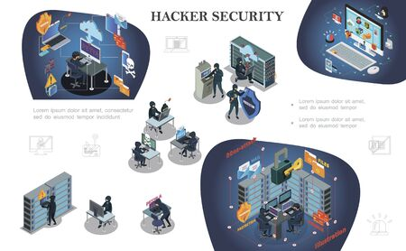 Isometric hacking activity elements composition with hackers