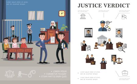 Flat law system concept with police officer Stock Illustratie