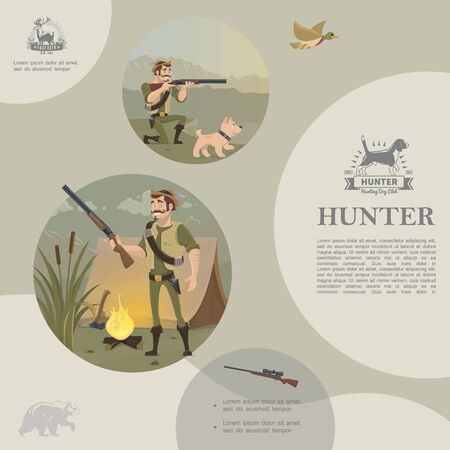 Flat hunting template with standing and aiming hunter