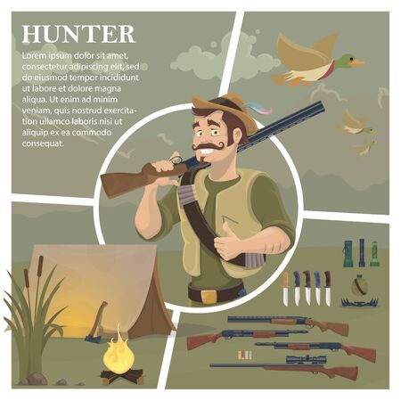 Flat hunting composition with mustached hunter holding shotgun Ilustracja