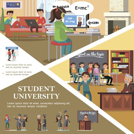 Colorful people in university flat template with students in classroom Ilustracja