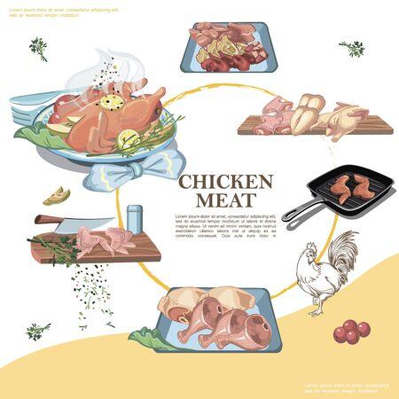 Chicken meat round template
