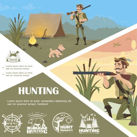 Flat hunting colorful template with standing and aiming hunter