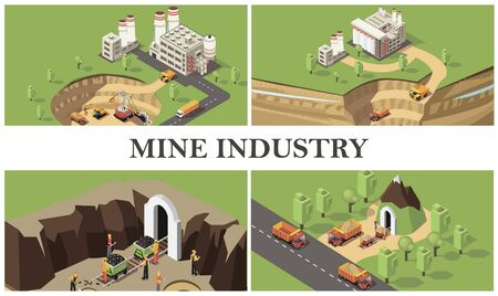 Isometric mining industry colorful composition with factories industrial machines