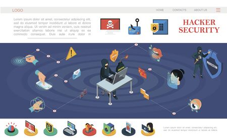 Isometric hacking protection web page template with hacker Ilustracja