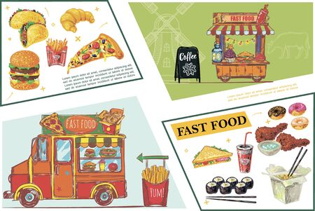Sketch fast food elements concept Ilustracja