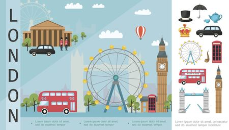 Flat Travel To London colorful concept Ilustracja