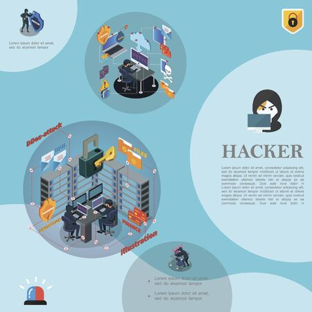 Isometric hacking activity template with hackers Ilustracja