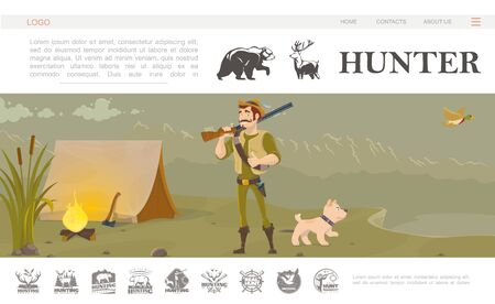 Flat hunting website template with smiling hunter holding shotgun