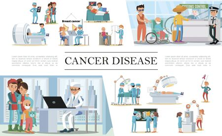 Flat cancer disease composition with medical diagnostic and treatment of illness