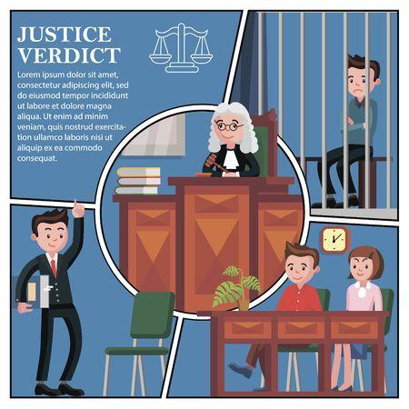 Flat judicial session participants concept
