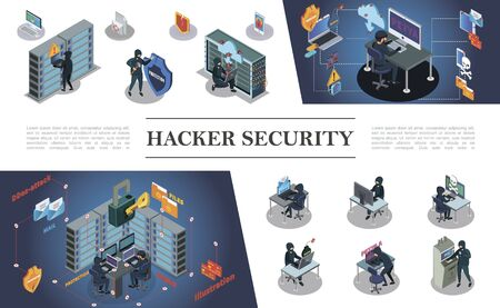 Isometric hacking activity composition with hackers committing different internet and cyber crimes vector illustration