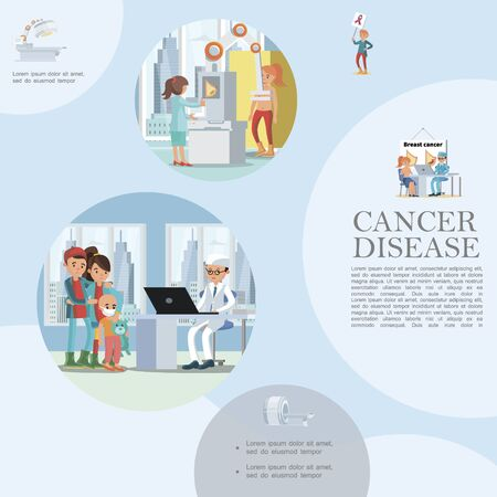 Flat people and cancer disease template Ilustracja