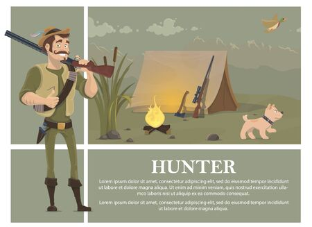 Flat hunting colorful concept with smiling hunter holding shotgun