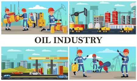 Flat oil industry composition with industrial workers Ilustracja