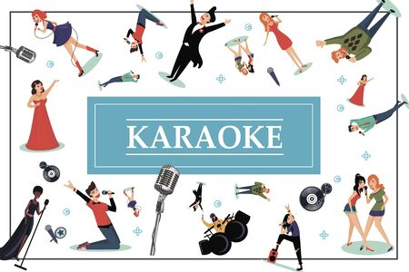 Flat karaoke party colorful concept with different microphones Ilustracja