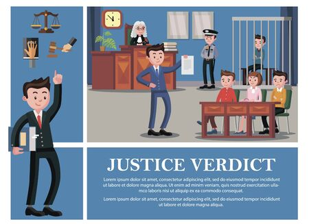 Flat judicial system composition with lawyer judge Ilustracja