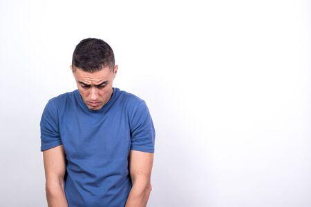 Scared man on white background, medium shot