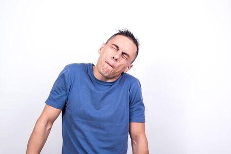 Silly man. White background, Medium shot Фото со стока