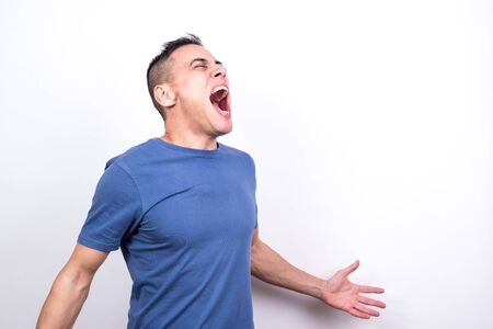 Screaming man. white background, medium shot Stock fotó
