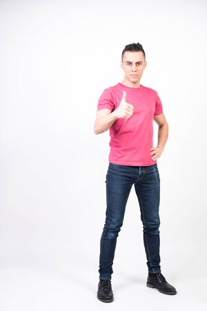 Satisfied man. White background, full body