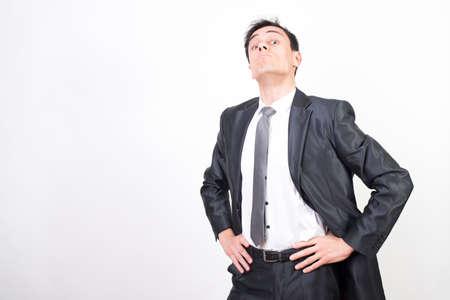 Vigilant man in suit. White background, Medium shot Stock fotó