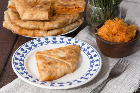 moldovan: pie with filling is stewed cabbage with egg.Moldovan cuisine Stock Photo