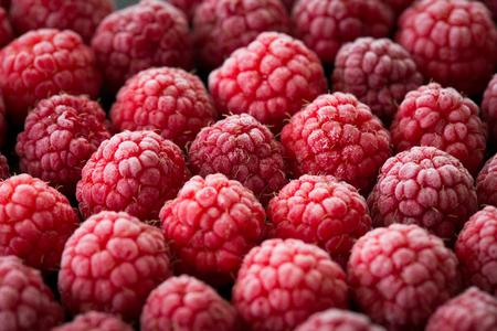 Frozen berries on dark background