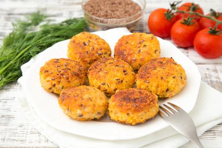 schnitzel: Schnitzel of Turkey with flax seeds. Stock Photo