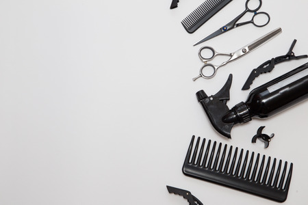 Professional hairdresser tools, isolated on white. Archivio Fotografico