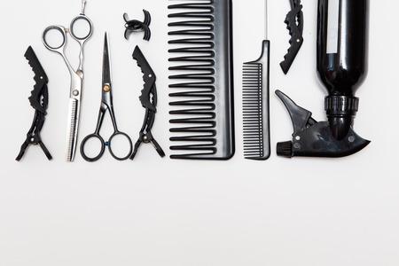 bobby: Professional hairdresser tools, isolated on white. Stock Photo