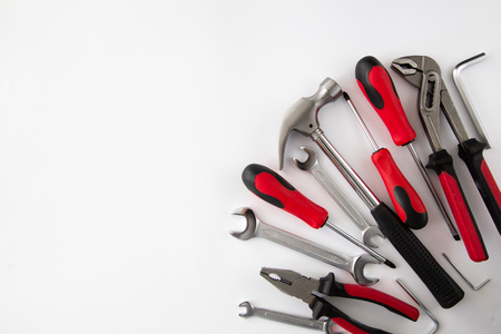 various and many tools on white background.