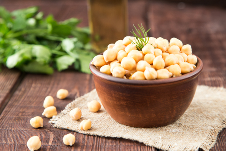 Cooked Chickpeas on a bowl. Chickpeas is nutritious food. Healthy and vegetarian food.