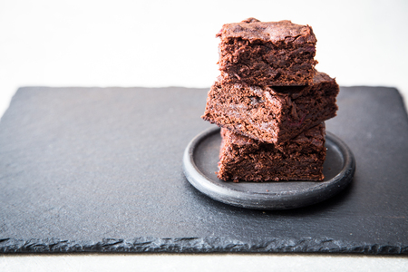 Homemade Delicious Chocolate Brownies. closeup chocolate cake. Stock Photo