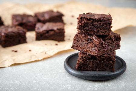 Homemade Delicious Chocolate Brownies. closeup chocolate cake. Stock Photo
