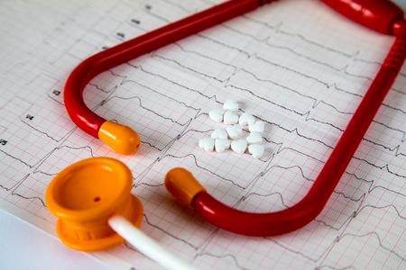 Cardiology. Macro of ECG graph and cardio pills. Pills as a heart. Banco de Imagens