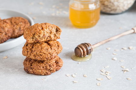 Homemade oatmeal cookies with honey. Healthy Food Snack Concept Stock Photo