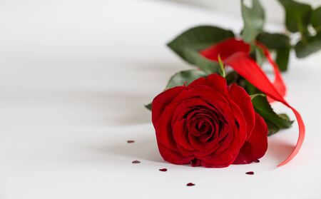 Red roses on white background. Valentines Day background, wedding day. Foto de archivo - 137446849
