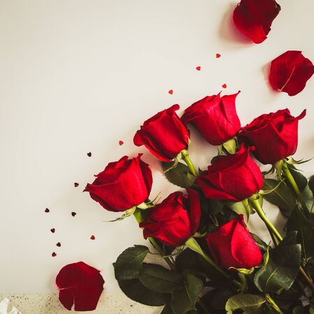 Red roses on white background. Valentines Day background, wedding day. Stock Photo - 137447470